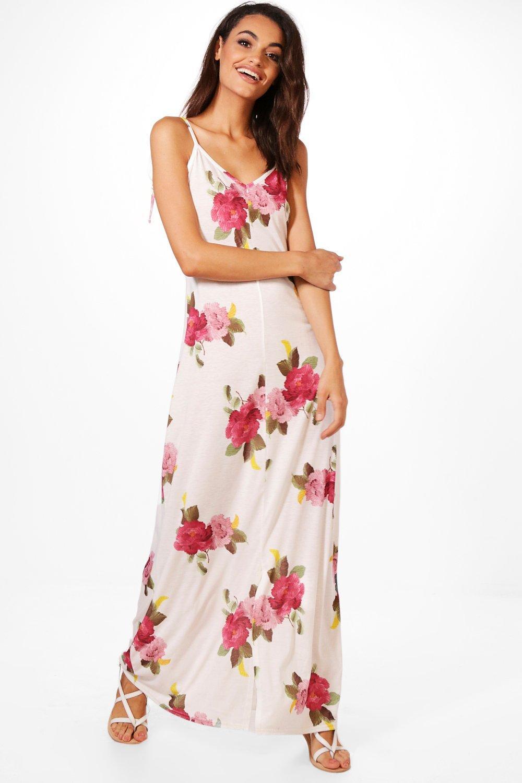 fc2db496d240 Rachel Tie Strap Floral Maxi Dress   Boohoo
