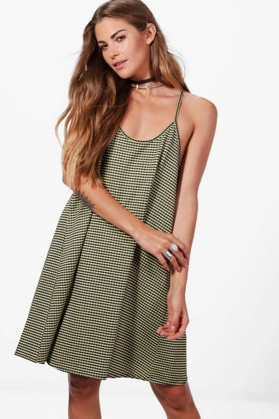 Jenna Strappy Gingham Swing Dress
