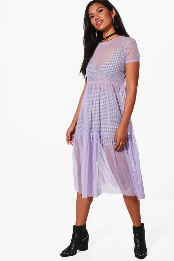 Georgina Mesh Drop Hem Midi Skater Dress