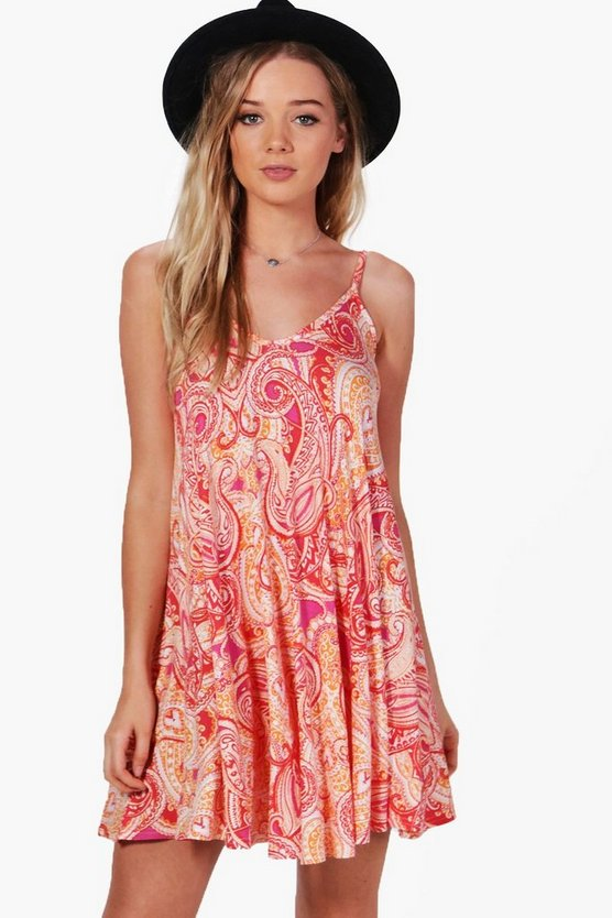 Amelia Printed Strappy Swing Dress