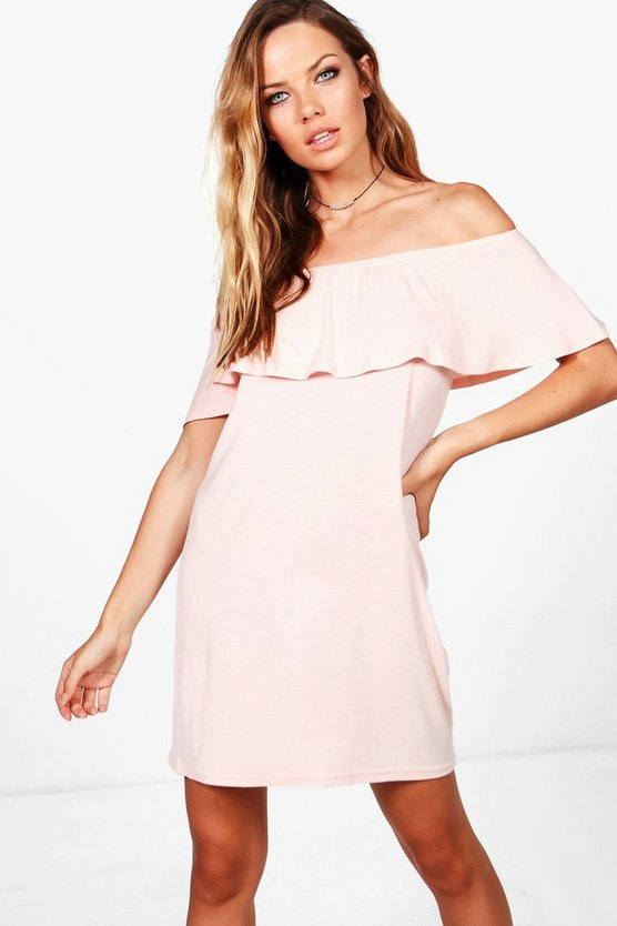 Izzy Off The Shoulder Ruffle Shift Dress