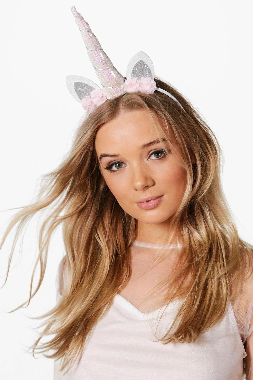 Holographic Bridal Unicorn Headband - white - Macy