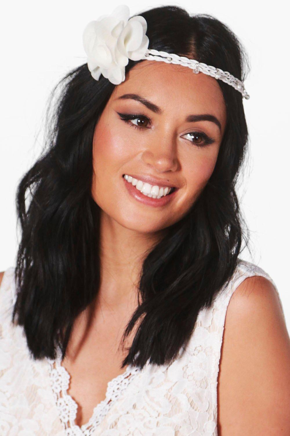 Floral Boho Bridal Headband - white - Casey Floral