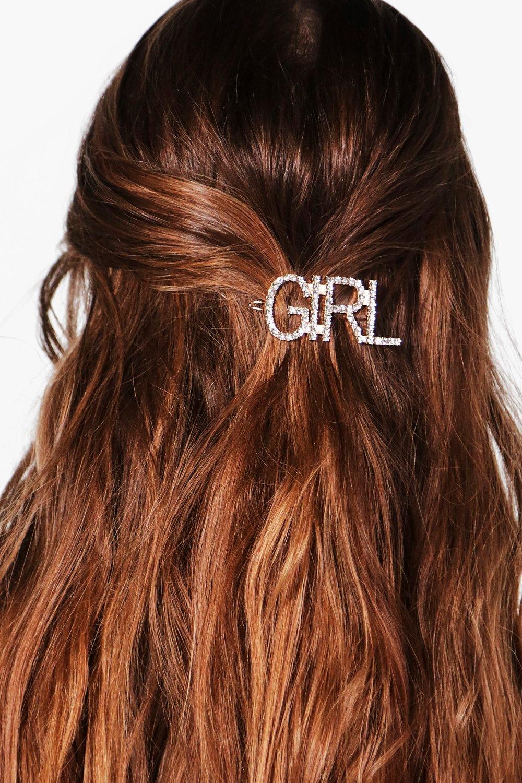 Girl Slogan Hairclip - silver