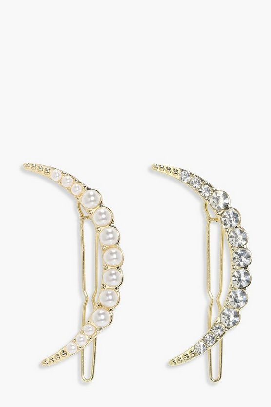 Mae Pearl & Diamante Moon Hair Clip 2 Pack