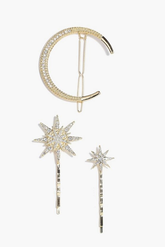 Betsy Diamante Moon & Stars Hair Grips 3pk