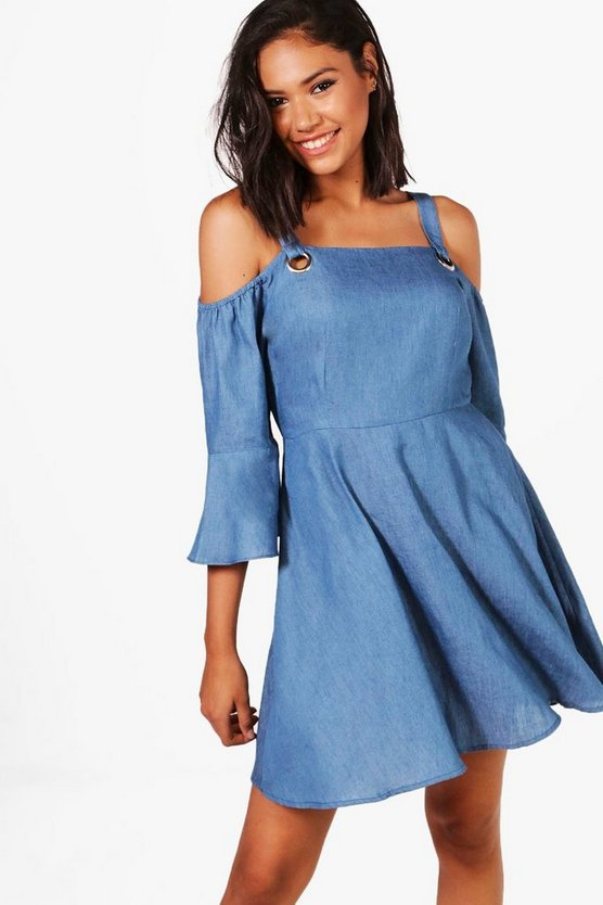 Renee Off The Shoulder Eyelet Denim Dress