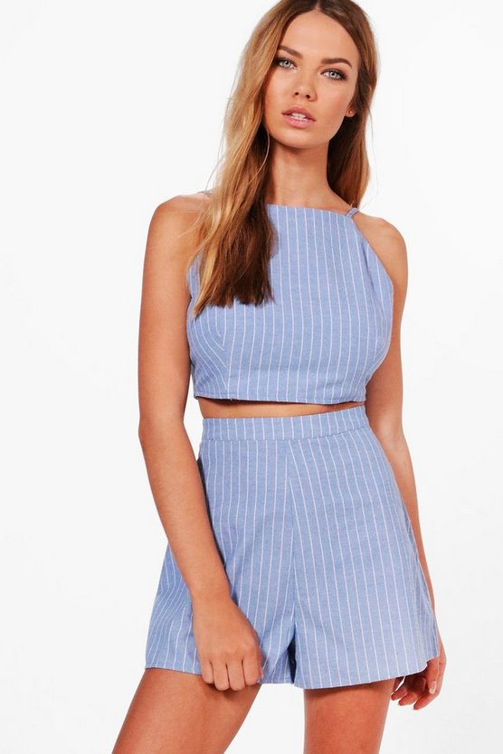 Sally Stripe Denim Crop and Shorts Co-ord Set
