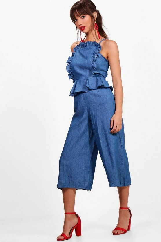 Ruth Ruffle Wide Leg Denim Jumpsuit
