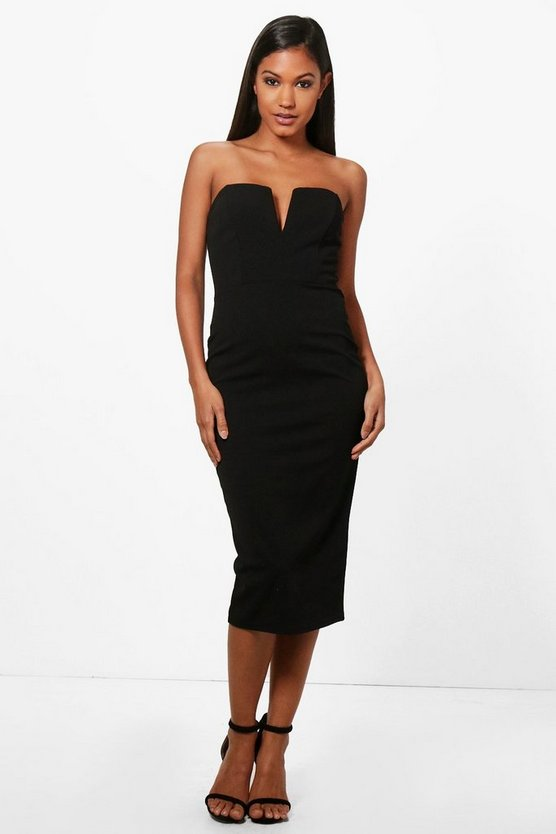 Carmen Plunge Bandeau Midi Dress