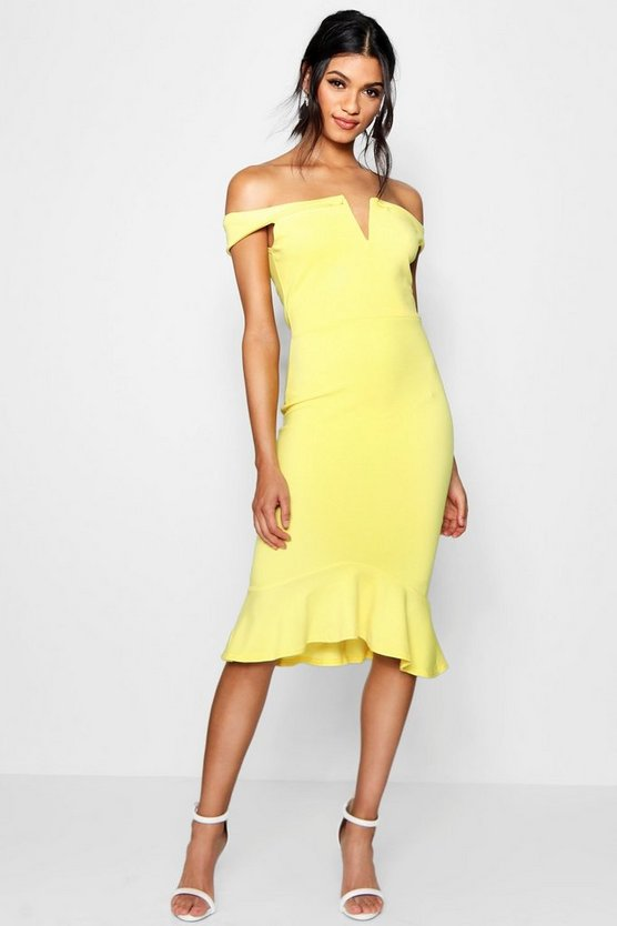 Kandy Off The Shoulder Frill Hem Midi Dress