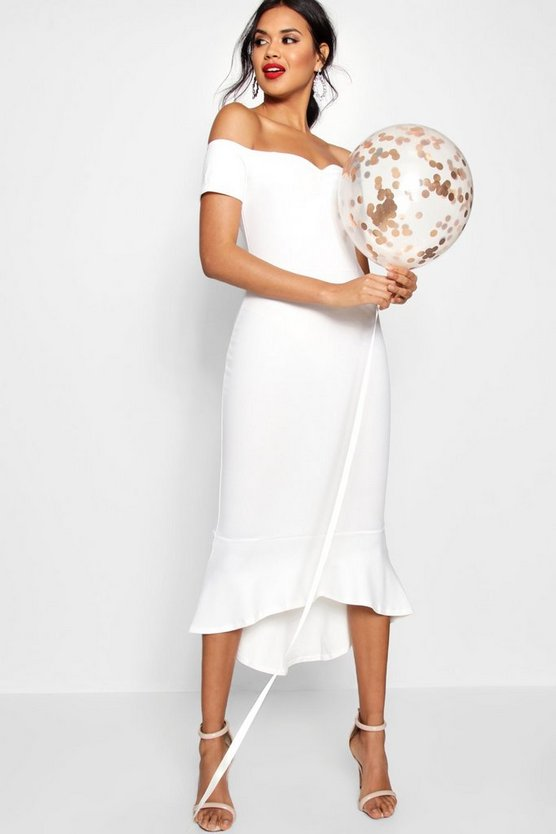 Elsie Off The Shoulder Frill Hem Midi Dress