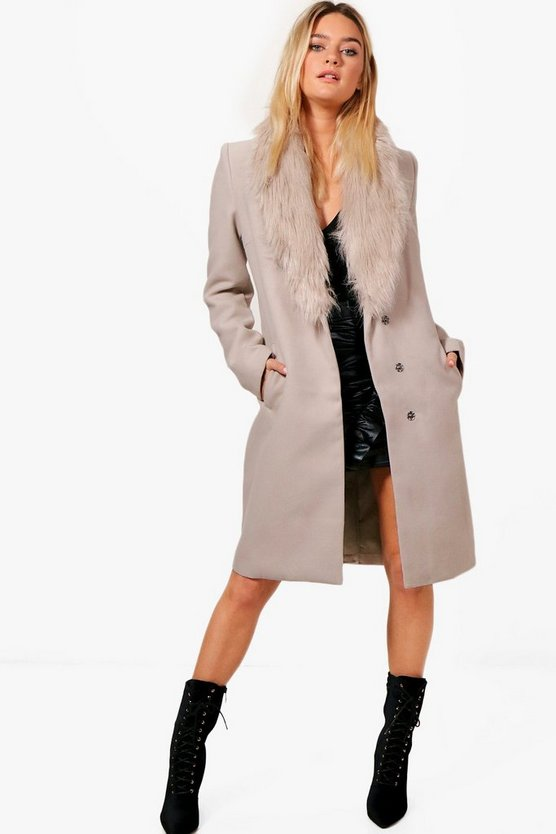 Julia Faux Fur Collar Wool Look Coat