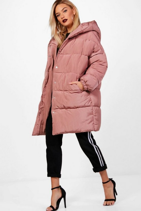 Isobel Longline Quilted Coat With Hood