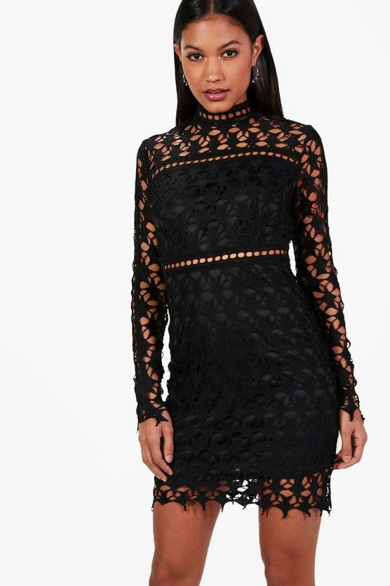 Misse Star Print Crochet  Bodycon Dress