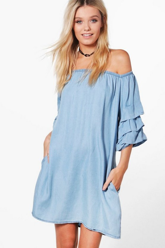 Elly Ruffle Denim Dress