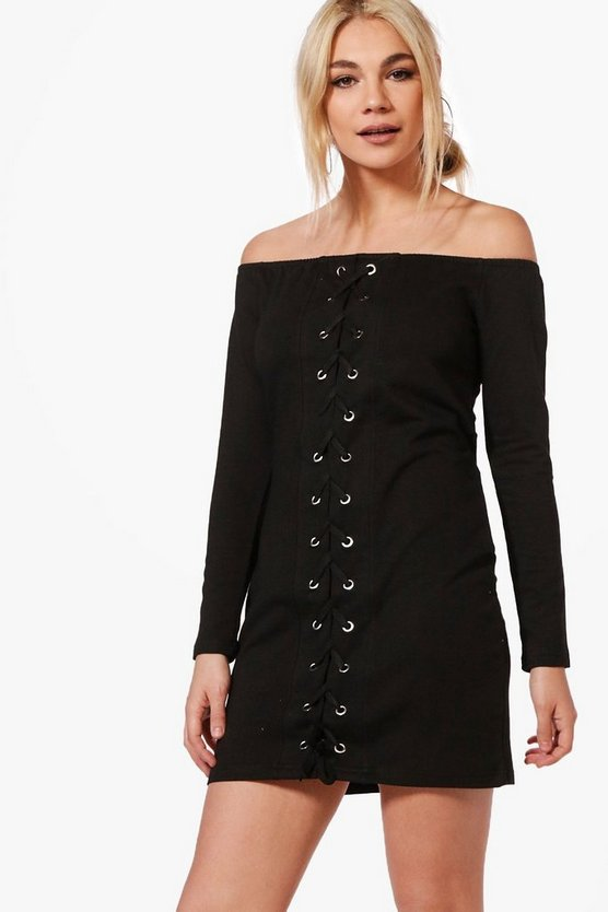 Maya Off The Shoulder Lace Up Sweat Dress