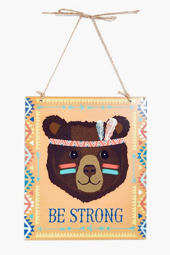 Be Strong Bear Print Plaque