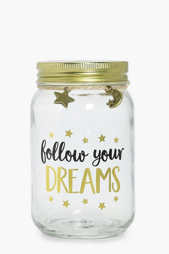 Follow Your Dreams Slogan Money Jar