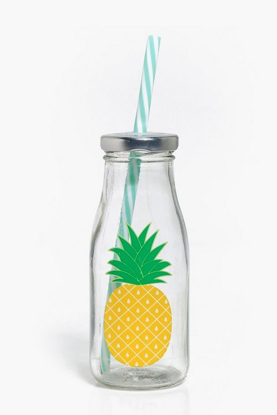 Tropical Pineapple Print Straw Bottle