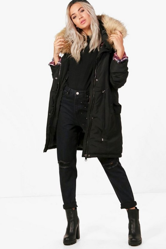 Boutique Jenny Parka With Faux Fur Trim