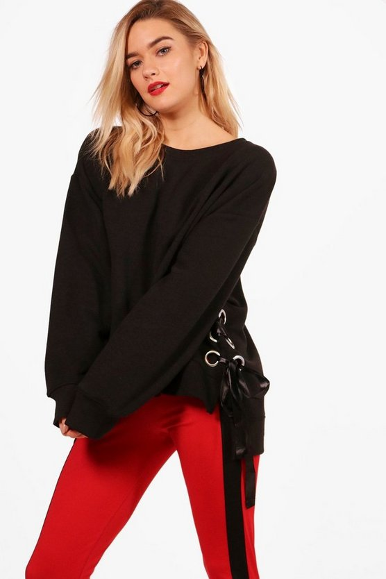 Emily Oversized Lace Up Side Sweat