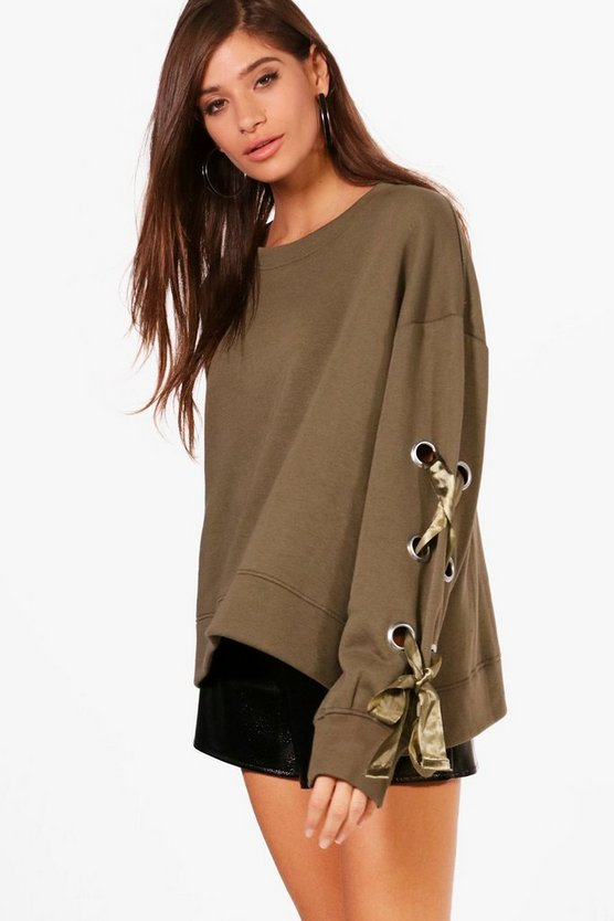 Anna Oversized Lace Up Sleeve Sweater