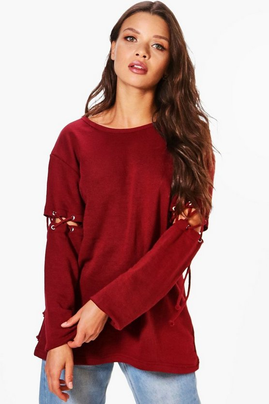 Sally Lace Up Shoulder Sweat