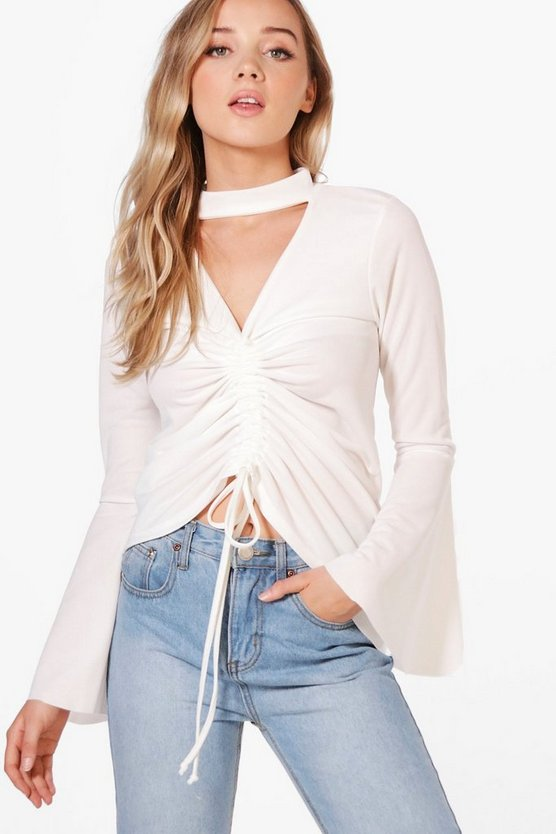 Lucy Ruched Front Top With Flared Sleeve