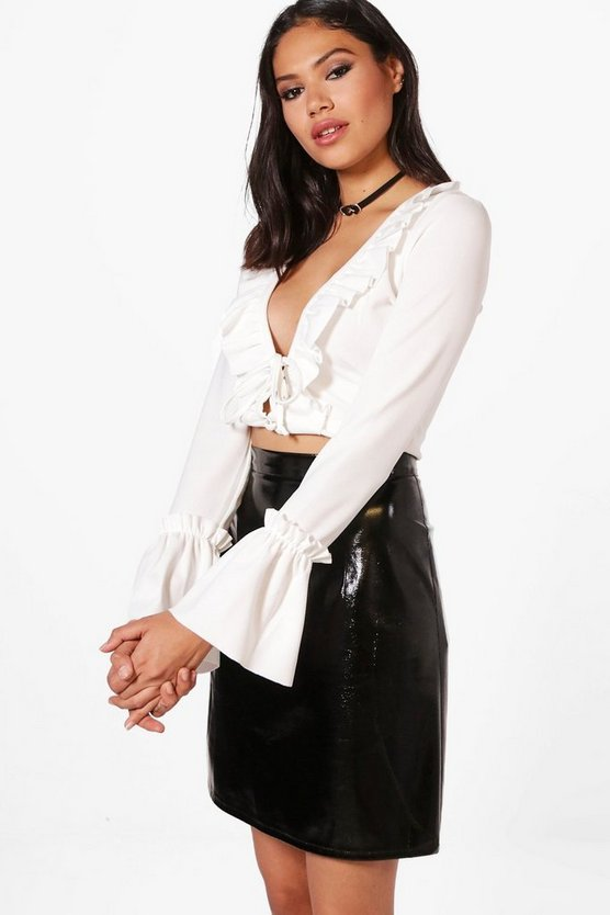 Lace Up Ruffle Long Sleeve Crop