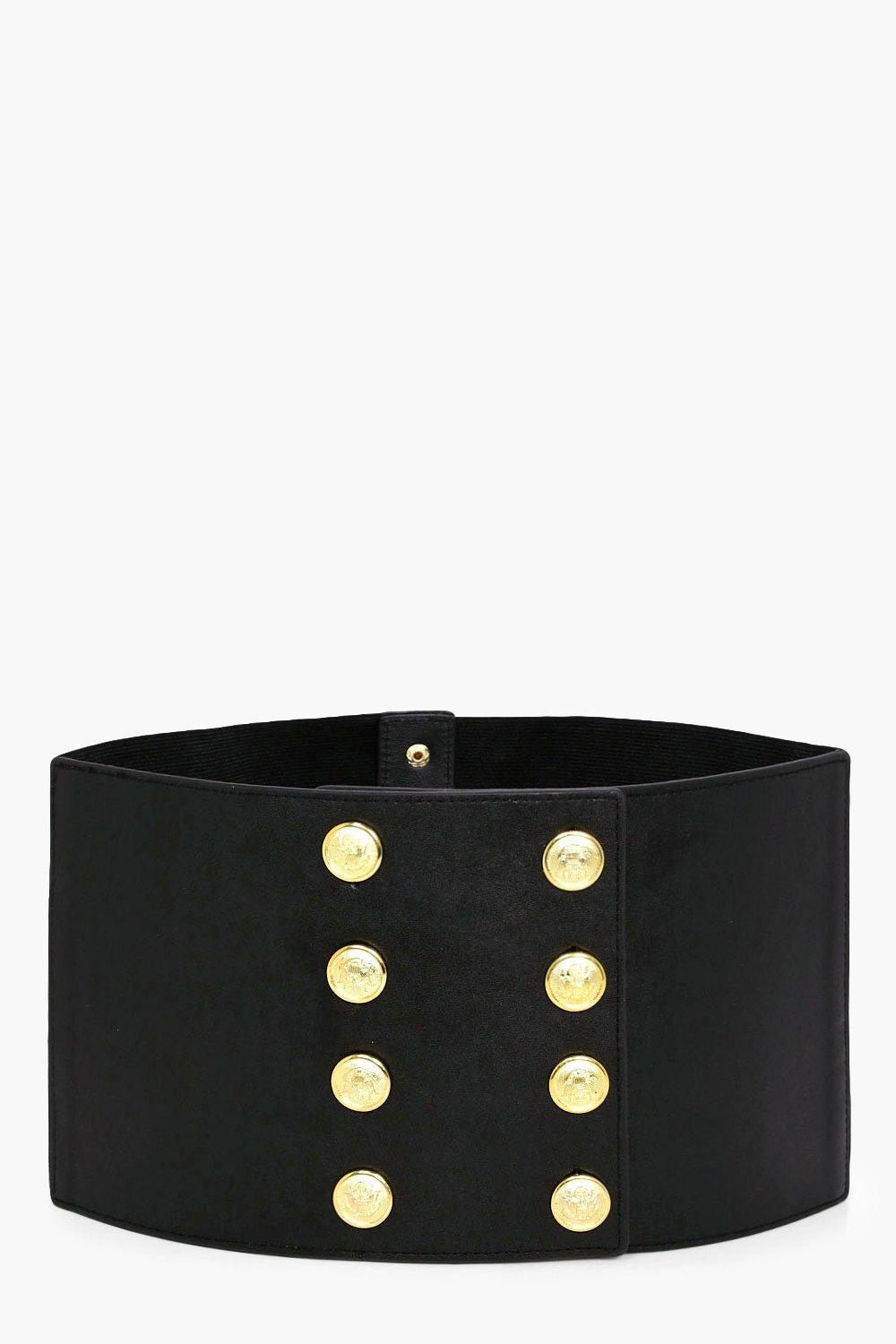 Military Button Waist Belt - black - Abigail Milit