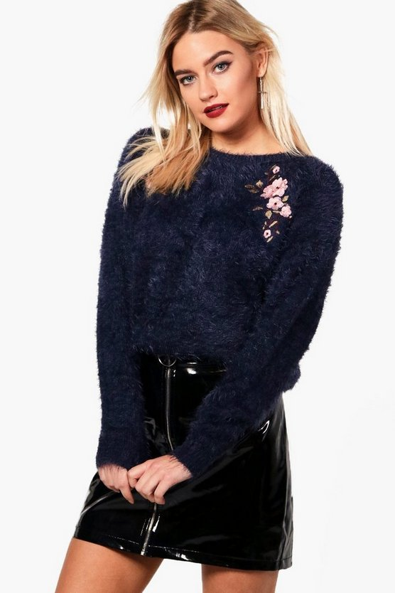 Aimee Embroidered Fluffy Knit Jumper
