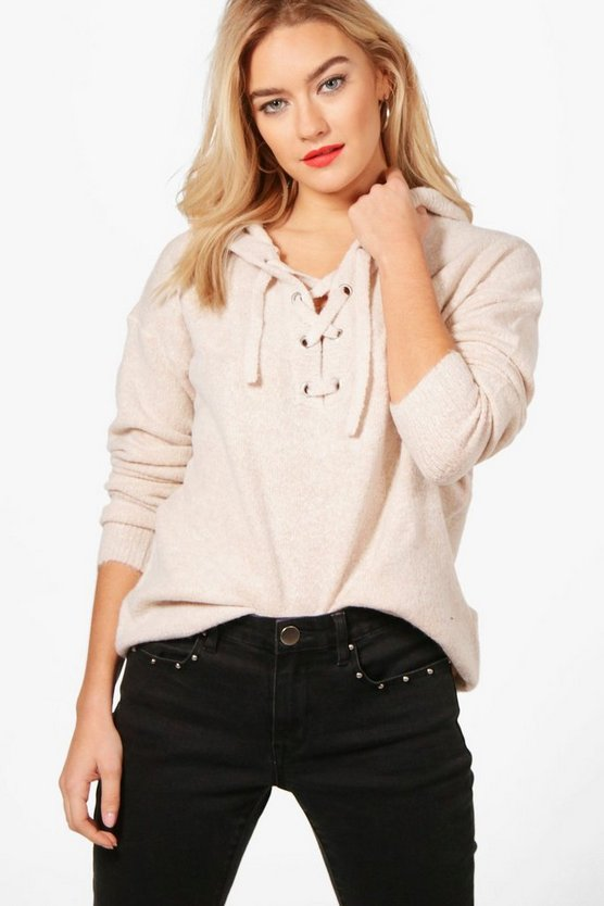 Natasha Lace Up Soft Knit Jumper