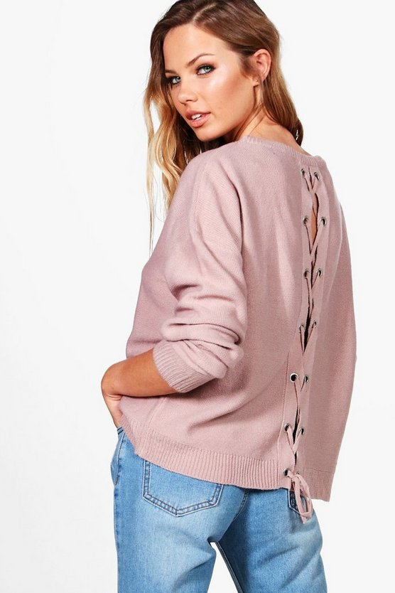 Phoebe Lace Up Back Jumper