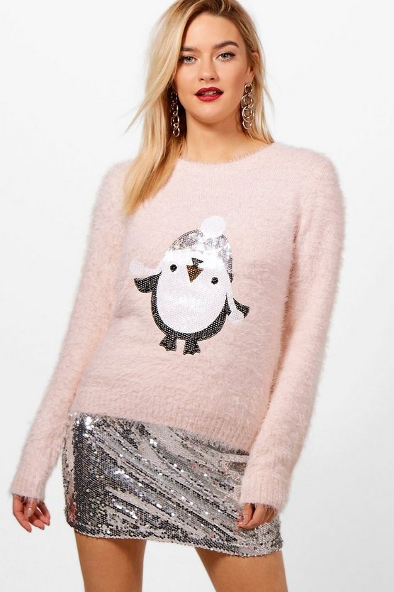 Emily Fluffy Knit Sequin Penguin Christmas Jumper