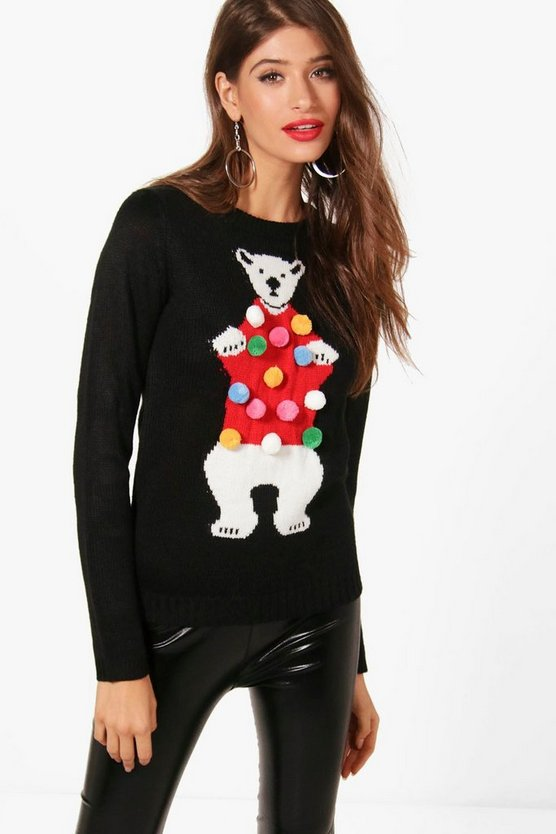 Francesca Pom Pom Polar Bear Christmas Jumper