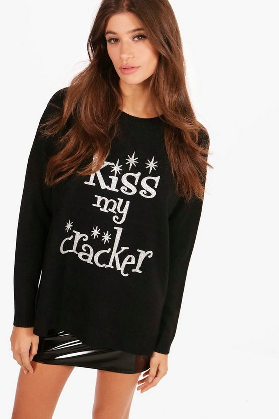 Lucy Crew Neck Glitter Kiss My Cracker Christmas Jumper
