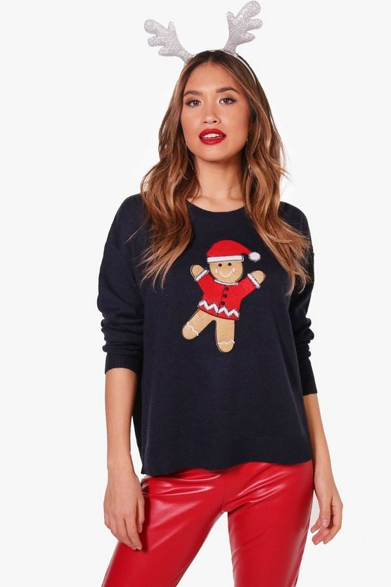 Amanda Applique Gingerbread Man Christmas Jumper