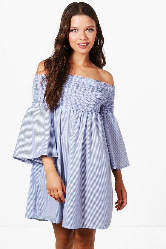 Katie Stripe Off Shoulder Sun Dress