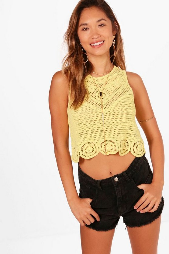 Jessica Scallop Hem Crochet Top