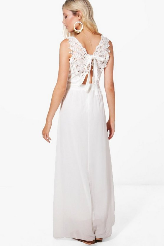 Anna Lace Back Trim Maxi Dress