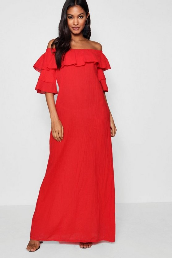 Ellie Ruffle Off Shoulder Maxi Dress