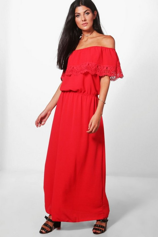 Bardot Lace Trim Maxi Dress