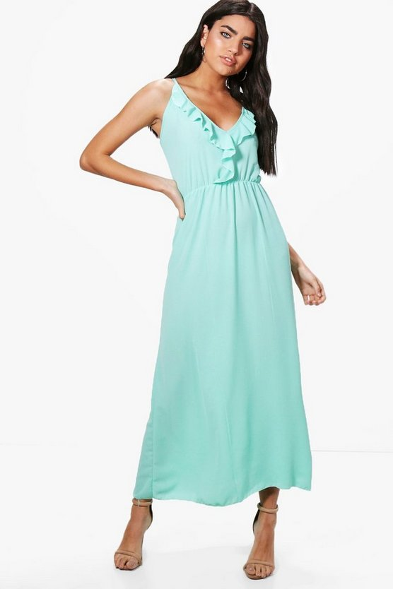 Ruffle Wrap Front Maxi Dress
