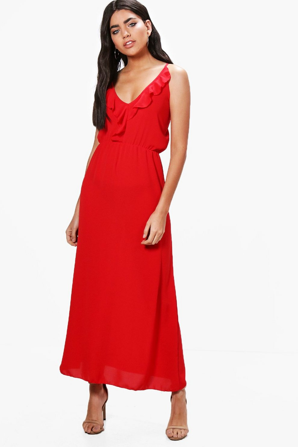 Boohoo Ruffle Wrap Front Maxi Dress Buy Cheap Manchester Shop Your Own Discount Excellent xCG9c
