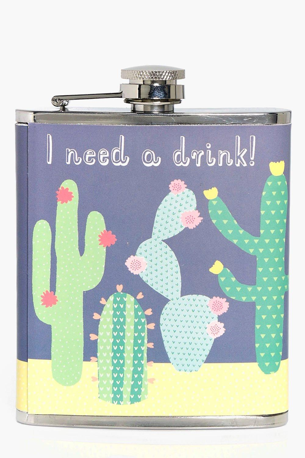 Need A Drink Cactus Hip Flask - green - I Need A D