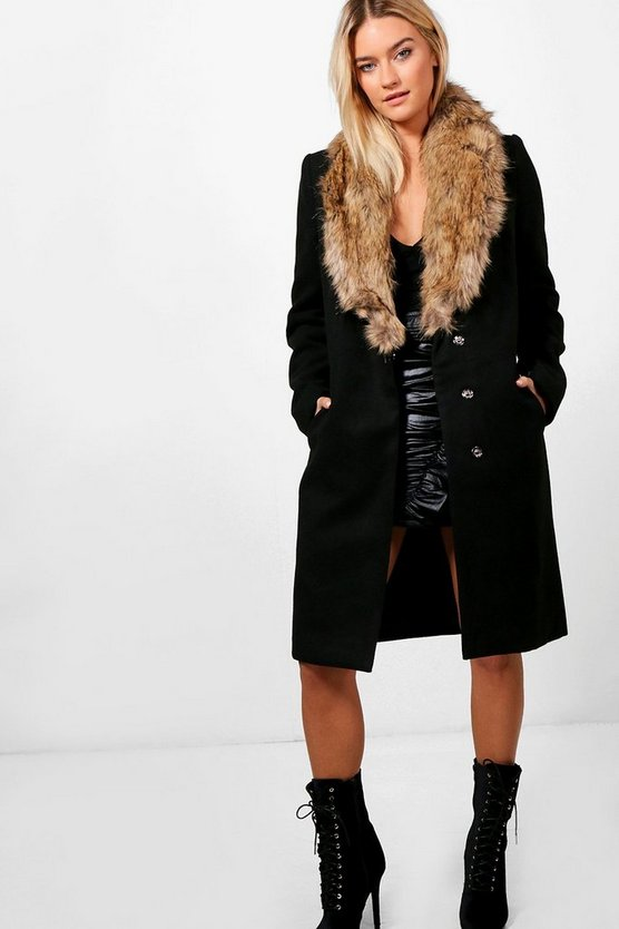 Julie Faux Fur Collar Wool Look Coat