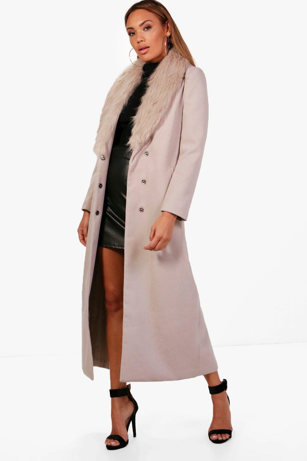 Maxi Faux Fur Collar Wool Look Coat - camel