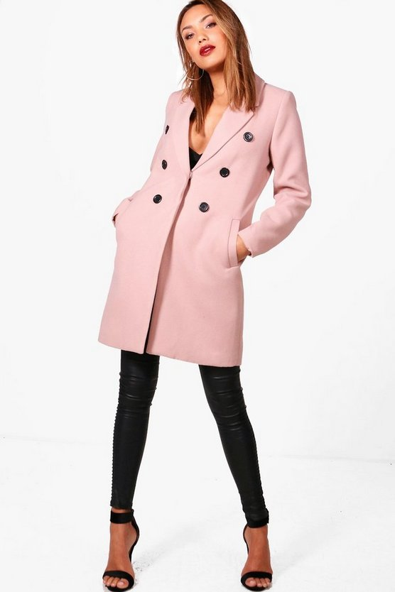 Natalie Double Breasted Wool Look Coat