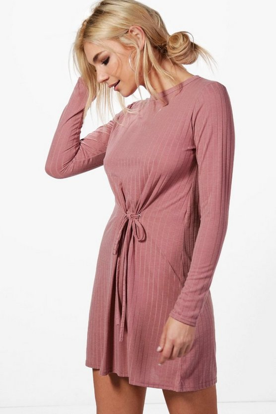 Mia Corset Lace Rib Eyelet Detail Jumper Dress